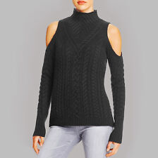 NWT AQUA Cashmere Womens Black Open Shoulder Mock Cable Pullover Sweater S $228