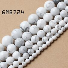 Natural Stone Beads White Turquoise Round Beads for Jewelry Making 4/6/8/10/12mm