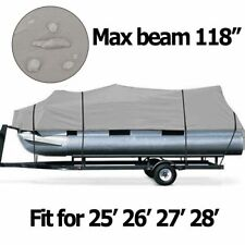 NEW 25-28Ft 600D Waterproof Heavy Duty Fabric Trailerable Pontoon Boat Cover SE