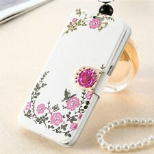 Women's Ladies Flip Floral Flower Butterfly Print Magnet Case Cover For iPhone