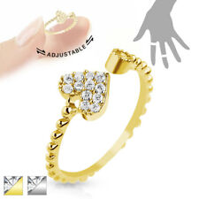 Finger Ring Toe Ring Brass Rhodium-plated in Gold, Silver Adjustable with Heart