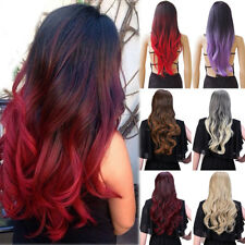 Long Curly Synthetic Hair Ombre Red Wig Middle Part Natural Wigs for Women Sa