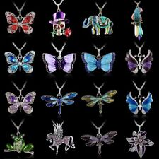 Crystal Butterfly Dragonfly Animal Parrot Elephant Skull Necklace Sweater Chain