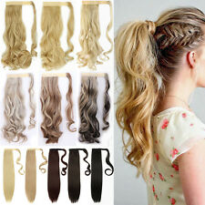 US Real Hair Wrap Around Ponytail Clip In Hair Extensions Thick As Human Hair PN