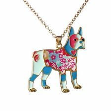 Fashion Lovely Gold Plated Rainbow Enamel Animal Dog Cat Necklace Jewelry Gift