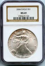 2004 1 oz SILVER AMERICAN EAGLE $1 NGC Graded MS 69 - Mint State 69
