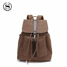 Vintage casual women daily backpack canvas bags student schoolbag retro drawstri
