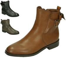WOMENS LADIES CAMEL FAUX LEATHER LOW HEEL CHELSEA BUCKLE ANKLE BOOTS SHOES SIZE