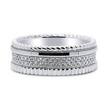 BERRICLE Sterling Silver Cubic Zirconia CZ Cable Eternity Ring 0.5 Carat