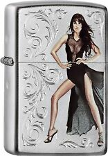 Zippo Pin Up Girl chrome satin Petrol with or Without Gift Set 60000531