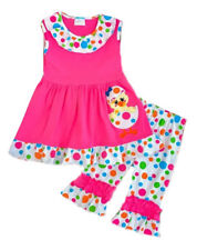 Spring Clothes Kids Baby Girl Outfit Easter Egg Chick Tunic Top Capri Pants Set