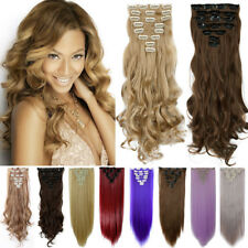 US Real Thick Full Head Clip In Hair Extensions Piece 8 Pieces Long As Human PE6