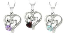 "Sterling Silver Gemstone ""Mom"" Heart 18-Inch Chain Pendant Necklace Jewelry Gift"