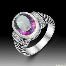 New Vintage Beautiful Jewelry Rainbow Topaz 925 Sterling Silver Ring size 7 8 9