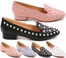 WOMENS BLACK PINK BLUE WHITE FLAT LOAFER BALLET PUMPS STUDS SHOES