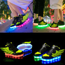 LED Light Up Kids Boys Girls Trainers PU Leather Sneakers Luminous Shoes Green