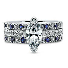 Silver Marquise Cubic Zirconia CZ Solitaire Engagement Ring Set 2.64 CT