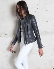 Womens Genuine Lambskin Motorcycle Real Leather Jacket Slim fit Biker Jacket #04