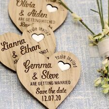 Wooden Save The Date Wedding Fridge Magnets Personalised Rustic Heart Magnets