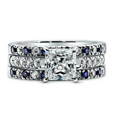 Silver Princess Cubic Zirconia CZ Solitaire Engagement Ring Set 3.02 CT