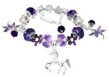 Girls Purple Dragonfly Pony Horse Crystal Glass Beads European Charm Bracelet