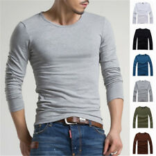 Hot  Mens Casual Long Sleeve T-Shirt Slim Fit  Tees Solid Tee Mens Fashion Top