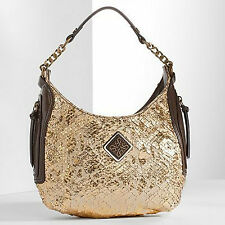 Simply Vera Wang Gold Snakeskin Faux Leather Isis Hobo Purse Handbag