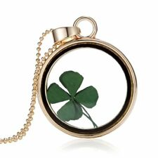 Natural Real Dried Flower Four-leaf Clover Pendant Necklace Mother's Day Gift