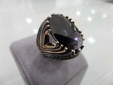 Handcraft 925 Sterling Silver Turkish Jewelry Onyx Men's Ring All Size