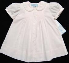 HAND~EMBROIDERED NB/3M PINK~WHITE~BLUE BATISTE DRESS W/SLIP~NWT'S~REBORN DOLL