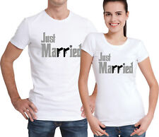 Godfather style Just Married Groom and Bride His and Her couple white T-shirts