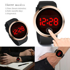 Fashion Waterproof Men's Red LED Touch Screen Day Date Silicone Wrist Watch New