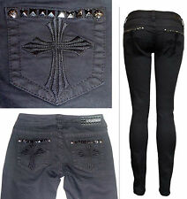 $140 AFFLICTION Denim Cross Pyramid Metal Studs Jeans-Raquel Black Skinny 24-29