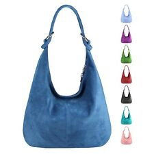 Italy Ladies XXL Real Leather Suede Shopper Handbag Shoulder Bag Pouch