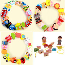 16pcs Wooden Cartoon Beads Threading & Lacing Kids Developmental Toys - 3 Themes