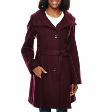 Worthington Womens Coat Wool Blend Funnel Neck Solid Belted size L NEW