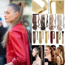 100% Thick Wrap Clip on Ponytail Hair Extensions as Human 100% Natural Shades A