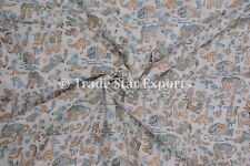 Indian Hand Block Print Fabric By The Yard Animal Print Cotton Voile Kids Fabric