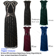 Womens Party Long Evening Prom Dresses 1920s Gatsby Beaded Maxi Cocktail Dress