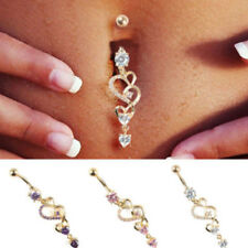 Belly Plated  Barbell Rings Crystal Heart Jewelry Body Piercing Navel Ring