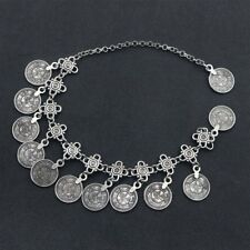 "Barefoot Sandals Foot Jewelry Ankle Bracelet 10"" Coin Charm Silver Women Antique"