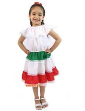 Girls Mexican Dress 3 Colors White/Red/Green
