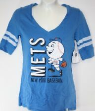 NEW Womens MLB New York NY METS '47 Brand Blue Baseball Mr Met Style Shirt