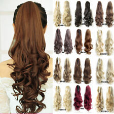 Natural Real Thick Jaw Claw On Hair Extensions Clip In Long Pontail Fake Hair PO