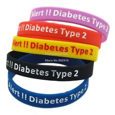 Type 2 Diabetes Medical Alert Silicone Rubber Wristband ID Bracelet Life Saver