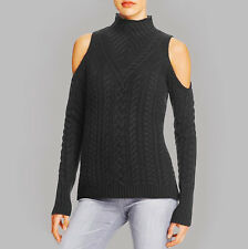 NWT AQUA Cashmere Womens Black Open Shoulder Mock Cable Pullover Sweater $228