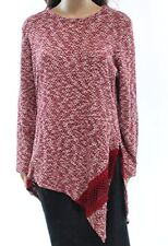 Style & Co. Womens Plus Space Dyed Long Sleeves Crewneck Sweater, Red