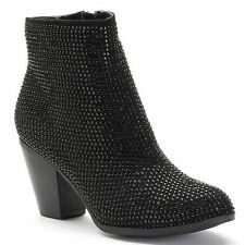 Juicy Couture Women's Sequined Ankle AVORA Booties-Boots Black SIZE-6, 6.5, New