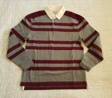 NEW MEN'S S M L XL J CREW RUGBY LONGSLEEVE POLO SHIRT IN RED STRIPE