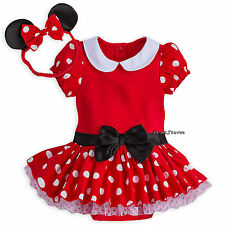 Disney Store Minnie Mouse Baby Costume & Ears Headband 0-3 3-6 6-9 Months NWT